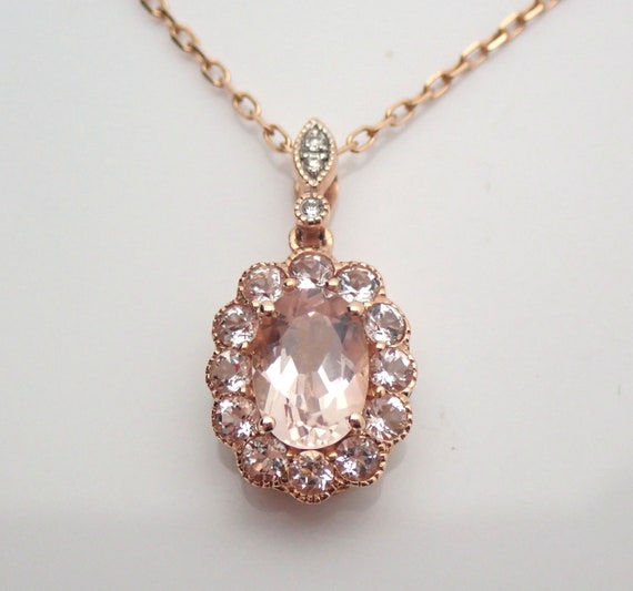 "Morganite and Diamond Halo Dangle Pendant Necklace 18"" Chain 14K Rose Gold Wedding Gift"