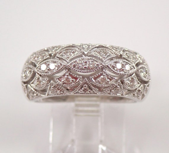 White Gold 1/2 ct Diamond Anniversary Ring Wide Dome Wedding Band Size 7 FREE SIZING