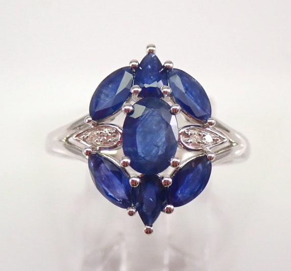 White Gold 2.04 ct Diamond and Sapphire Cocktail Cluster Ring Size 6.75 MUST SEE