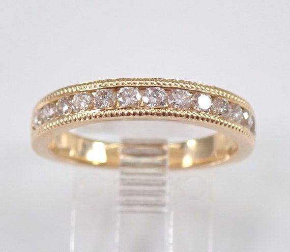 Yellow Gold 1/2 ct Diamond Wedding Ring Anniversary Band Stackable Size 7 Millgrain FREE SIZING