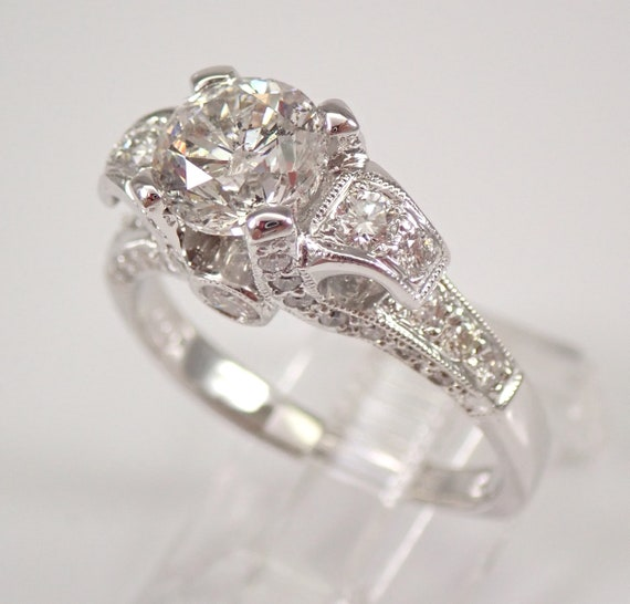 18K White Gold 2.48 ct Round Brilliant Diamond Engagement Ring Size 7.5 MUST SEE