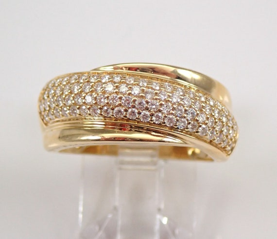 14K Yellow Gold Pave Set .65 ct Diamond Wedding Ring Anniversary Band Size 7