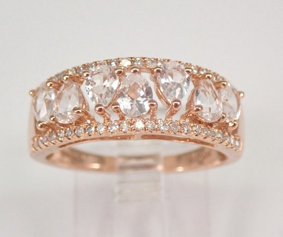 Morganite and Diamond Wedding Ring Anniversary Band Rose Gold Size 7 FREE SIZING