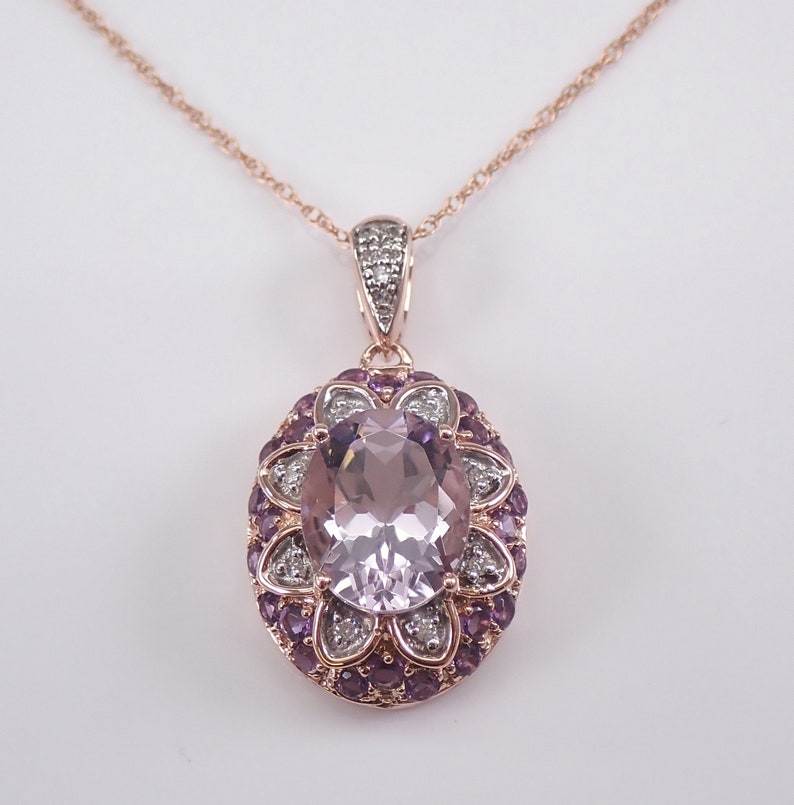 Amethyst and Diamond Flower Necklace Rose Gold Pendant image 0