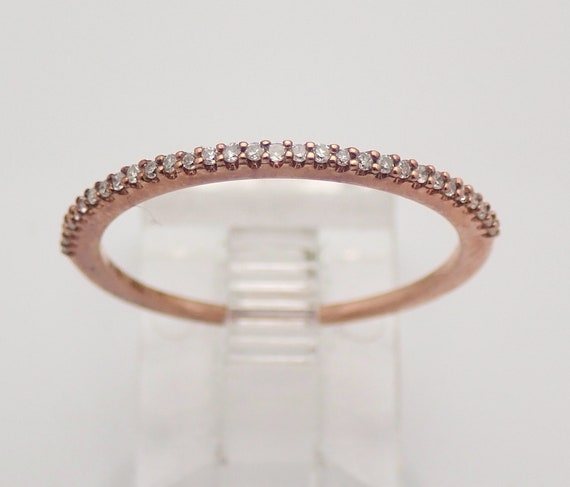 Diamond Wedding Ring Stackable Anniversary Band Rose Gold Size 7 Thin Band