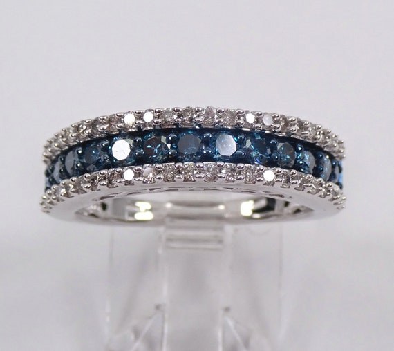 Fancy Blue and White Diamond Wedding Ring Stackable Anniversary Band White Gold Size 7