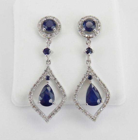 Sapphire and Diamond Earrings 14k White Gold Dangle Drop Chandelier Wedding Earrings