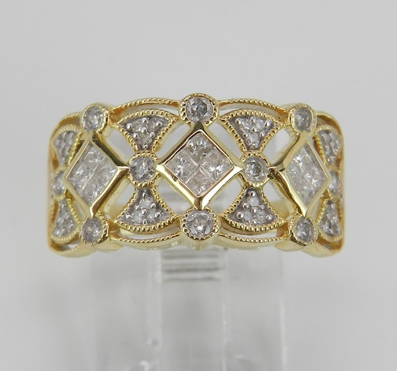 Diamond Ring Cluster Cocktail Ring Anniversary Band Yellow Gold Ring Size 6