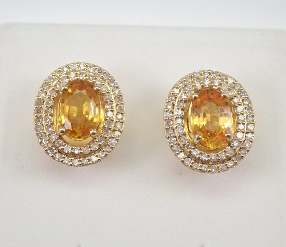 Yellow Sapphire and Diamond Stud Earrings Double Halo Studs Yellow Gold September Birthstone