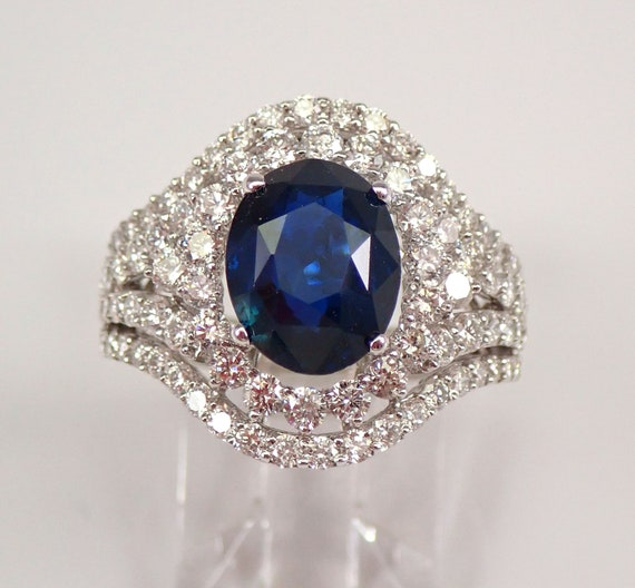 18K White Gold 5.09 ct Diamond and Sapphire Halo Engagement Ring Size 7 September Gemstone Something Blue FREE Sizing