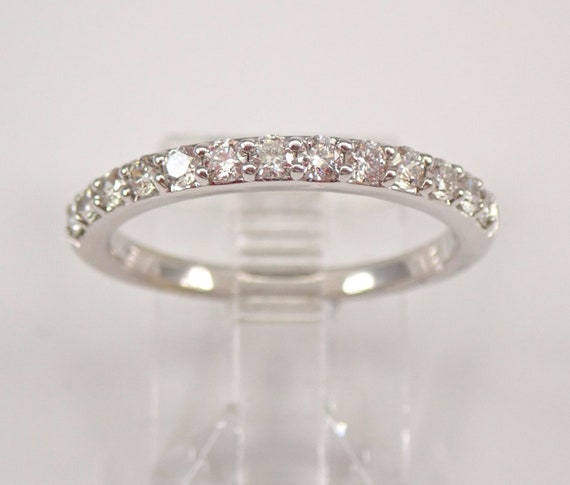 Diamond Wedding Ring Stackable Anniversary Band 14K White Gold Size 7 FREE SIZING