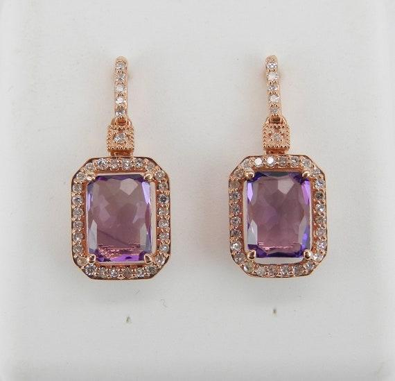 Diamond and Cushion Cut Amethyst Dangle Drop Halo Earrings 14K Rose Gold Purple February Gemstone