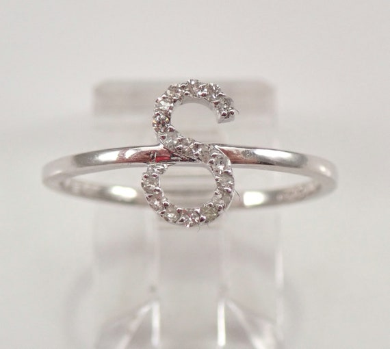 White Gold Diamond INITIAL S Ring Size 7 Best Friend Gift Graduation Sweet 16