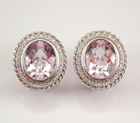 14K White Gold 8.12 ct Diamond and Kunzite Halo Earrings Omega Clip