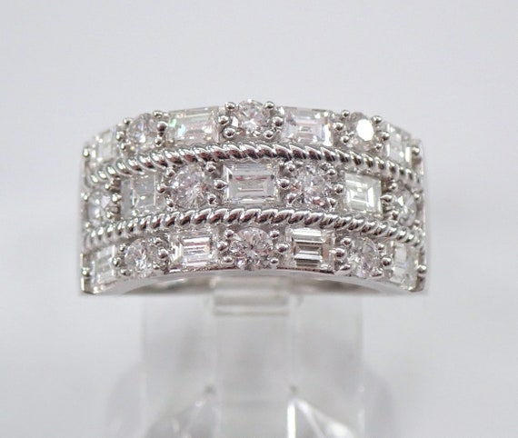 1.50 ct Wide Diamond Wedding Ring Anniversary Band 14K White Gold Cluster Size 7 FREE Sizing