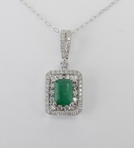 "Emerald and Diamond Necklace, White Gold Emerald Halo Pendant, Emerald Necklace with 18"" Chain, May Gemstone Gift"