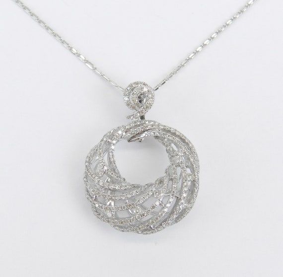 White Gold Diamond Pendant, Diamond Necklace, Cluster Drop Pendant, Swirl Necklace, Wedding Necklace, White Gold Chain 18""