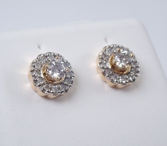 14K Yellow Gold Diamond Stud Earrings Halo Jacket Set Studs