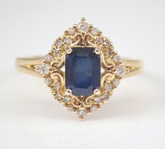 Yellow Gold Diamond and Sapphire Engagement Ring Size 7 September Gemstone FREE Sizing