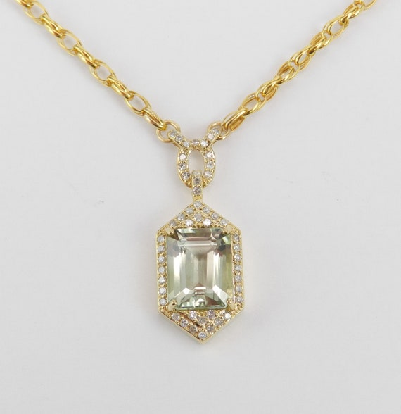 """2.85ct Diamond and Green Amethyst Necklace 14K Yellow Gold 17"""" Chain Emerald Cut"""