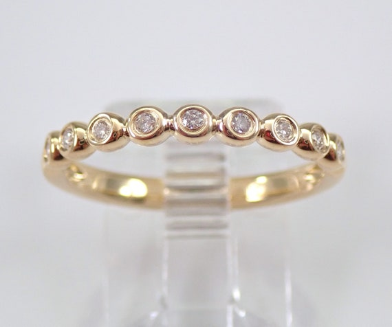 Yellow Gold Bezel Set Diamond Wedding Ring Anniversary Band Stackable Size 7 FREE SIZING
