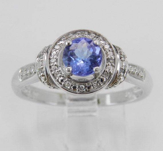 Tanzanite and Diamond Halo Engagement Ring White Gold Size 7 Promise Ring