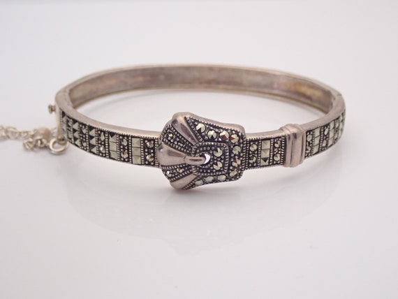 Vintage Sterling Silver Belt Buckle Bangle Bracelet Marcasite