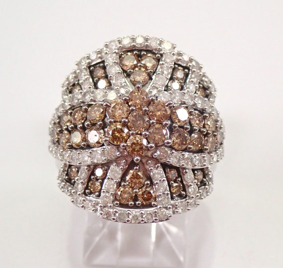 White Gold 3.00 ct Cognac and White Diamond Cluster Ring Size 7 FREE SIZING