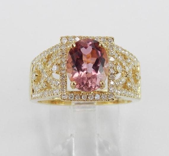 2.60 ct Pink Tourmaline and Diamond Halo Engagement Ring 14K Yellow Gold Size 7 October Gemstone
