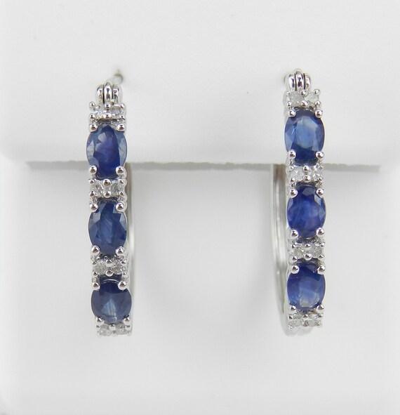 1.20 ct Diamond and Sapphire Hoop Earrings Hoops 14K White Gold Graduation Gift