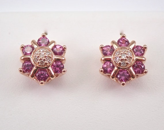 Rose Gold Diamond and Pink Tourmaline Cluster Flower Stud Earrings GRADUATION GIFT