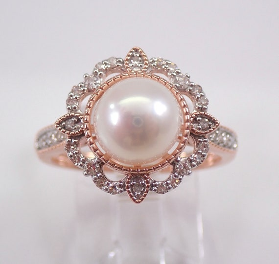 Rose Gold Pearl and Diamond Halo Snowflake Engagement Ring June Birthstone FREE Sizing