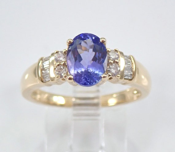 14K Yellow Gold Tanzanite and Diamond Engagement Ring Size 7 Beautiful Traditional Design