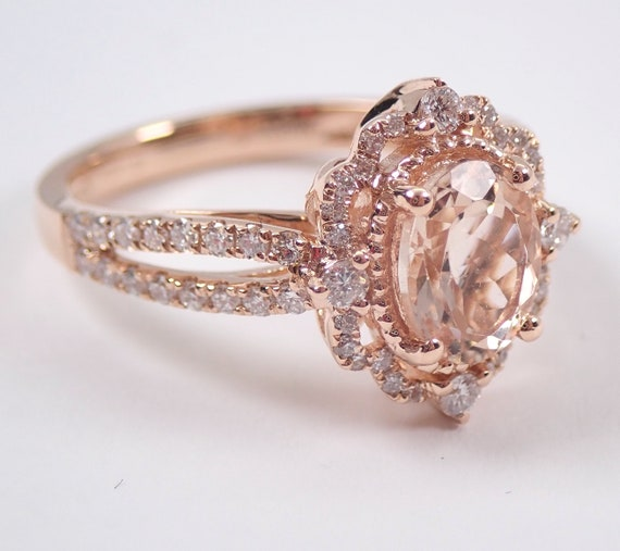 Morganite and Diamond Halo Engagement Ring 14K Rose Gold Size 7 Unique Style