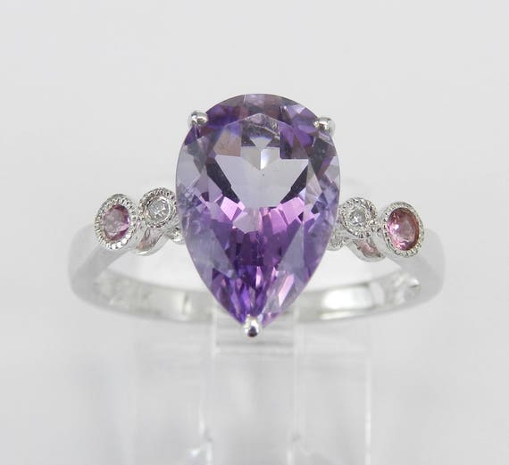 14K White Gold 3.10 ct Amethyst Diamond Pink Tourmaline Engagement Ring Size 7