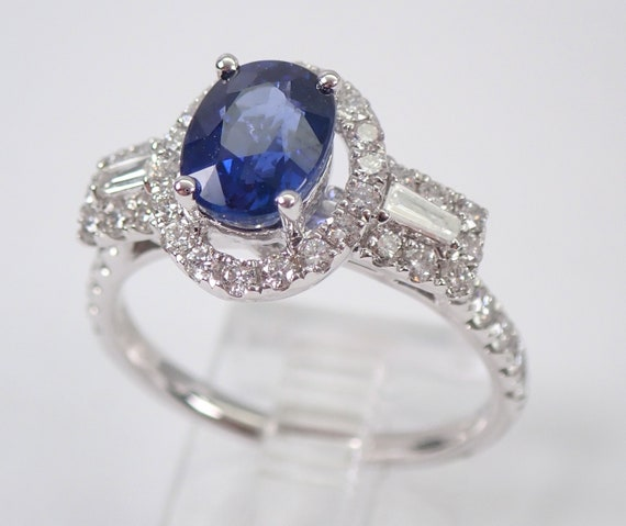 18K White Gold Diamond and Sapphire Halo Engagement Ring Size 7 September Gemstone Something Blue FREE Sizing