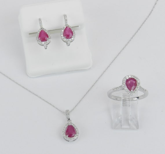 14K White Gold Diamond and Ruby Necklace Earrings Ring Set Pear Halo Design July Gemstone