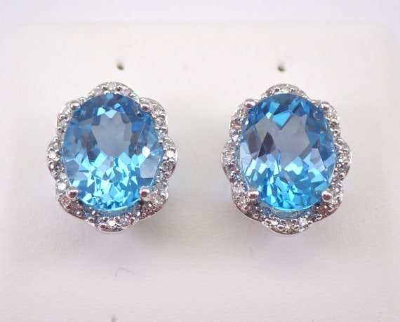 3.30 ct Blue Topaz and Diamond Stud Earrings Halo Studs White Gold December Birthstone