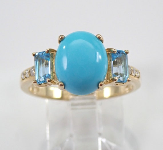 Turquoise Blue Topaz and Diamond Three Stone Engagement Ring Yellow Gold Sleeping Beauty Teal Color