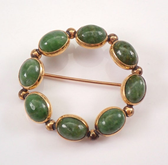 Vintage Antique 14K Yellow Gold JADE Circle Cluster Brooch Pin Pendant 1970's