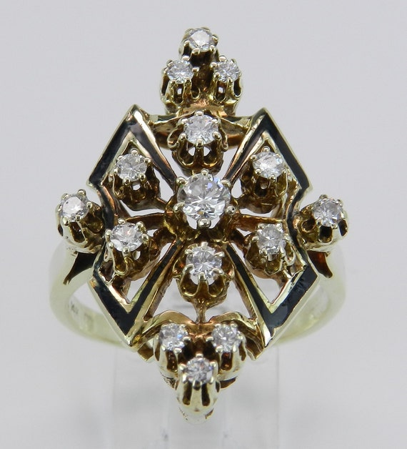 Antique Diamond Ring Black Enamel Ring Vintage Ring Estate 14K Yellow Gold Size 10