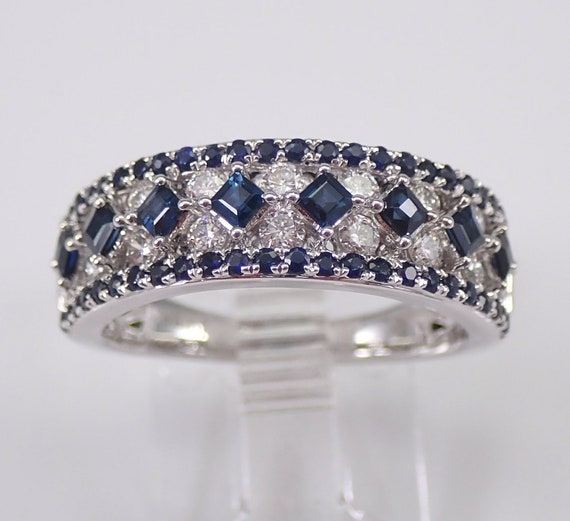 Sapphire and Diamond Wedding Ring Princess Cut Anniversary Band 14K White Gold Size 7 Stackable
