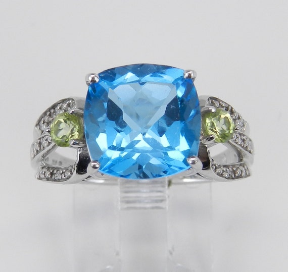 SALE Cushion Cut Blue Topaz Peridot Diamond Engagement Ring White Gold Size 7