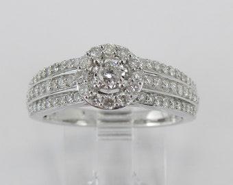 Unique White Gold Round Natural Halo Diamond Engagement Ring Size 6.75 Elegant