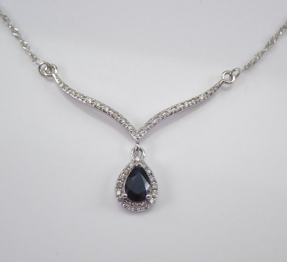 """14K White Gold Sapphire and Diamond Lariat Style Necklace 17"""" Chain Pendant"""
