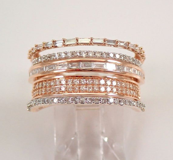 14K Rose Gold 1.20 ct Diamond Anniversary Ring Multi Row Wedding Band Size 7