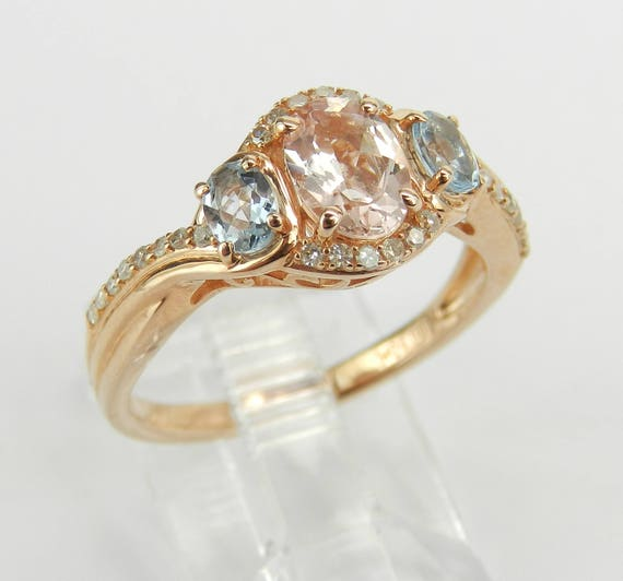 Three Stone Engagement Ring, Morganite and Aquamarine Ring, Rose Gold Diamond Ring, Size 6.75