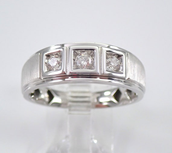 Men's White Gold Diamond Wedding Ring Three Stone Anniversary Band Size 10.25