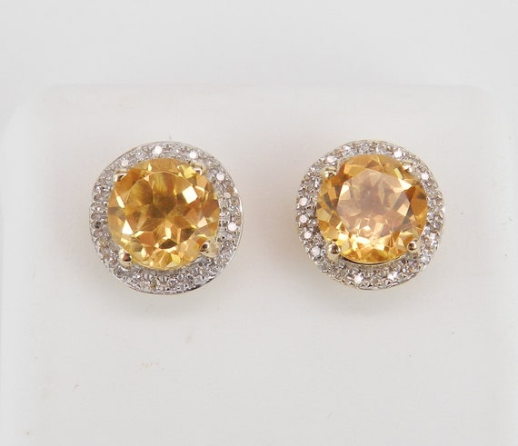 Citrine and Diamond Stud Earrings Halo Studs 14K Yellow Gold November Birthstone