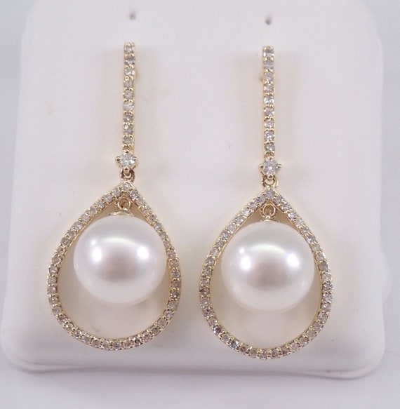 White Pearl and Diamond Dangle Drop Earrings 14K Yellow Gold June Birthday Wedding